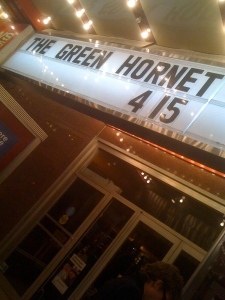 Green Hornet movie title at old theater